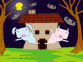 Animal haunted house a cartoon with ghost animals Stock Photo