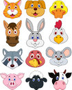 Animal head cartoon set illustration of Stock Photos