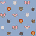 Animal head pattern seamless of cute heads Royalty Free Stock Image