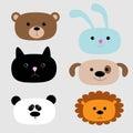 Animal head set. Cartoon bear, rabbit, cat, dog, panda and lion.