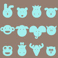 Animal heads icon set cute light blue on the grey brown background Royalty Free Stock Photo