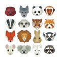 Animal heads set with of various wild animals Royalty Free Stock Photography