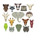 Animal heads set with of various wild and domestic animals Stock Photo