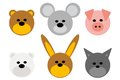 Animal heads various bear mouse pig cat rabbit Stock Image