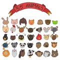 Animal heads vector collection of doodle style Stock Images