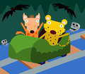 Animal horror ride a cartoon hyena and a cheetah riding a Stock Photography