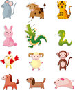 Animal icon set chinese zodiac animal cartoon vector illustration Royalty Free Stock Image