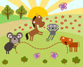 Animal jump rope a group animals playing in a field Royalty Free Stock Photo
