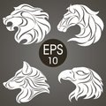 Animal logo design collection. Animal Emblem. Lion, Horse, Eagle, Wolf Royalty Free Stock Photo