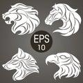 Animal logo design collection. Animal Emblem. Lion, Horse, Eagle, Wolf Royalty Free Stock Photo