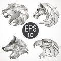 Animal logo design collection. Animal set. Lion, Horse, Eagle, Wolf Royalty Free Stock Photo