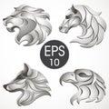 Animal logo design collection. Animal set. Lion, Horse, Eagle, Wolf Royalty Free Stock Photo