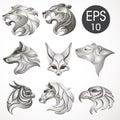 Animal logo design collection. Animal set. Lion, Horse, Eagle, Wolf, White bear, Husky, Fennec, Tiger Royalty Free Stock Photo