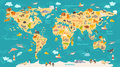 Animal map for kid. World vector poster for children, cute illustrated