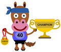 Animal marathon champion illustration of a horse wearing a runner s uniform while holding a trophy and a medal Stock Photography