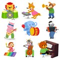 Animal music vector animalistic character musician lion or dog playing on musical instruments guitar and piano