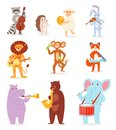 Animal music vector animalistic character musician lion or rabbit playing on musical instruments guitar and violin