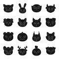 Animal muzzle set icons in black style. Big collection of animal muzzle vector symbol stock illustration