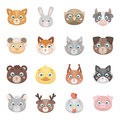 Animal muzzle set icons in cartoon style. Big collection of animal muzzle vector symbol stock illustration