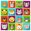 Animal muzzle set icons in flat style. Big collection of animal muzzle vector symbol stock illustration