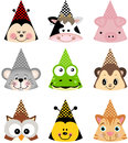 Animal party hats scalable vectorial image representing a isolated on white Stock Images