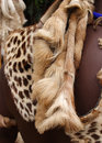 Animal pelt on Zulu warrior South Africa Stock Images