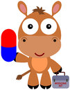Animal pill illustration of a cute horse carrying a big and a medicine kit Royalty Free Stock Image