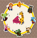 Animal play music card Royalty Free Stock Images