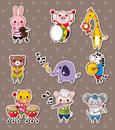 Animal play music stickers Stock Image