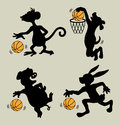 Animal playing basketball silhouettes four cute animals monkey dog pig and rabbit basket ball good use for symbol sticker logo or Royalty Free Stock Photos