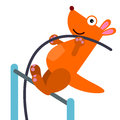 Animal pole vault an illustration of a kangaroo vaulting Royalty Free Stock Photos