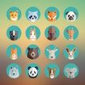 Animal Portraits Icon Set In F...