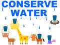 Animal s conservation illustration of animals trying to catch dripping water Stock Photography