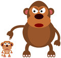 Animal scolds illustration of a big monkey scolding a smaller monkey Royalty Free Stock Photo