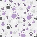 Animal seamless eps vector pattern with pet legs imprint in violet and grey colors Royalty Free Stock Photography