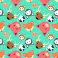 Animal seamless pattern with cow, fox. cat. dear, pig in flat design