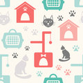 Seamless pattern with house, cat and tree