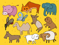 Animal set flat childish vector illustration Stock Photography