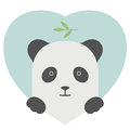 Animal set. Portrait of a panda in love over heart Royalty Free Stock Photo