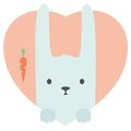 Animal set. Portrait of a rabbit in love in flat Royalty Free Stock Photo