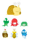 Animal set slug crocodile octopus t urtle chicken bee fish vector illustration design eps Royalty Free Stock Images