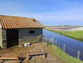Animal shed old for sheep and goats in a dutch landscape Royalty Free Stock Image