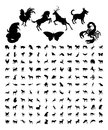 Animal Silhouettes Bundle Royalty Free Stock Photo