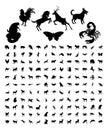 Animal Silhouettes Bundle Royalty Free Stock Photo