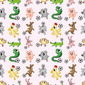 Animal soccer seamless pattern Royalty Free Stock Photos