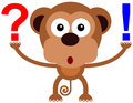 Animal solution a funny illustration of a monkey with an exclamation and a question mark Stock Photo