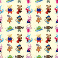 Animal sport player seamless pattern Royalty Free Stock Images