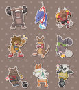 Animal sport player stickers Stock Image