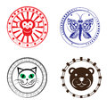 Animal stamps baby head collection decorative seals isolated on white Royalty Free Stock Photo
