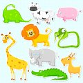 Animal sticker illustration of set of cute Royalty Free Stock Photo
